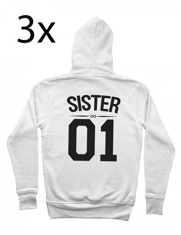 Sister 01 bluzy dla trzech przyjaciółek z kapturem białe