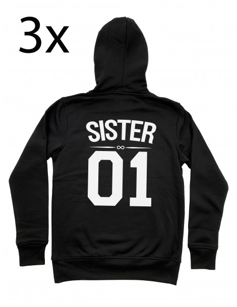 Sister 01 bluzy dla trzech przyjaciółek z kapturem czarne