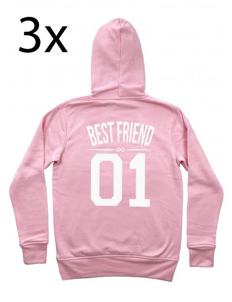 Sister 01 bluzy dla trzech przyjaciółek z kapturem pudrowy róż