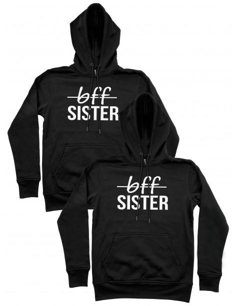 Bff Sister bluzy dla przyjaciółek z kapturami czarne