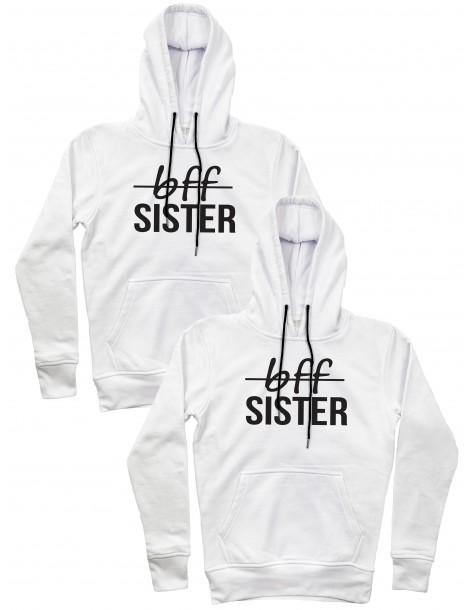 Bff Sister bluzy dla przyjaciółek z kapturami białe
