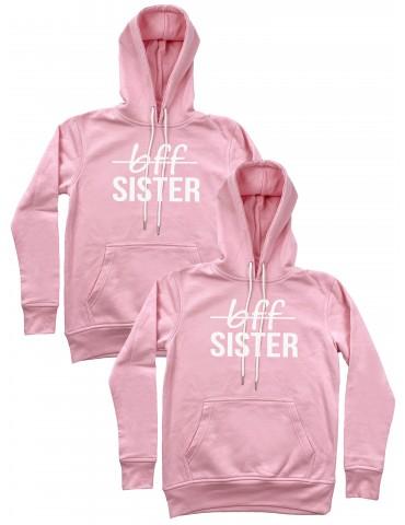 Bff Sister bluzy dla przyjaciółek z kapturami pudrowy róż