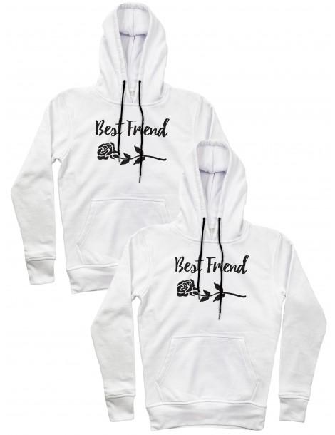 Best friend róża bluzy dla przyjaciółek z kapturem białe