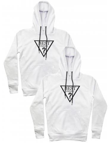 Best Friend trójkąt bluzy dla przyjaciółek z kapturem białe