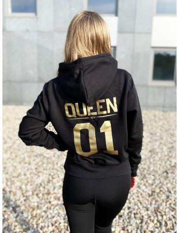 Queen 01 złoty nadruk bluza damska z kapturem