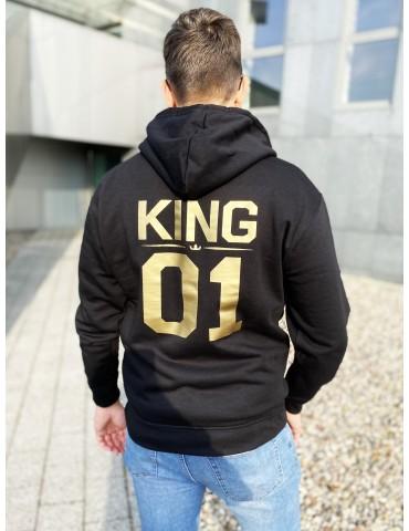 Bluza męska King 01 złoty nadruk z kapturem