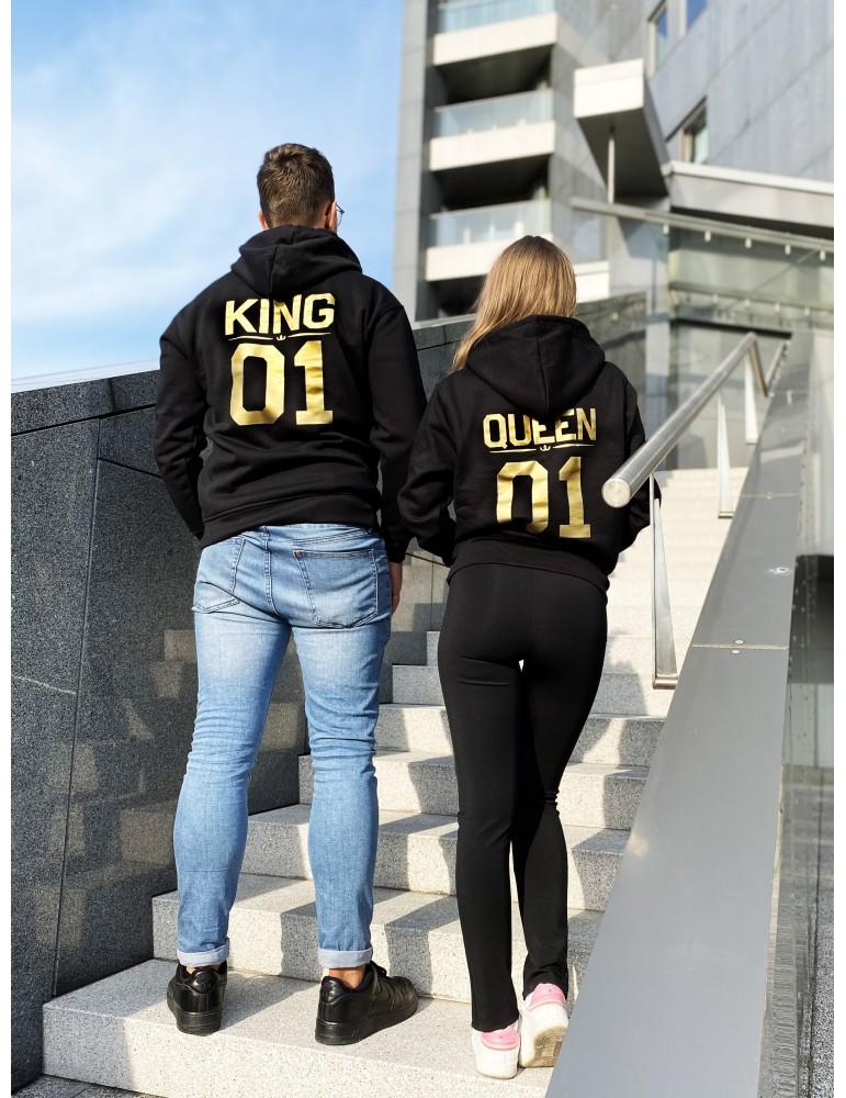 Bluzy dla par King 01 Queen 01 ze złotym nadrukiem