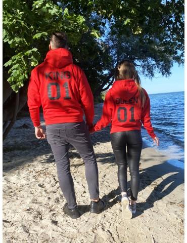 Bluzy dla par czerwone King 01 Queen 01 z kapturem
