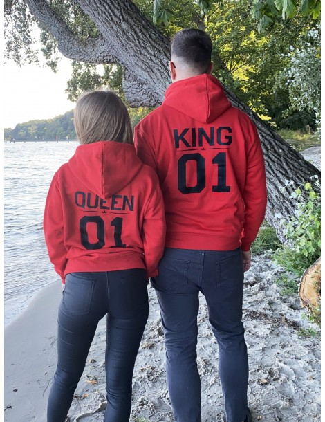 Bluzy dla par czerwone King 01 Queen 01