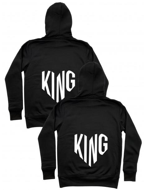 King King serca bluzy dla par homoseksualnych z kapturem czarne
