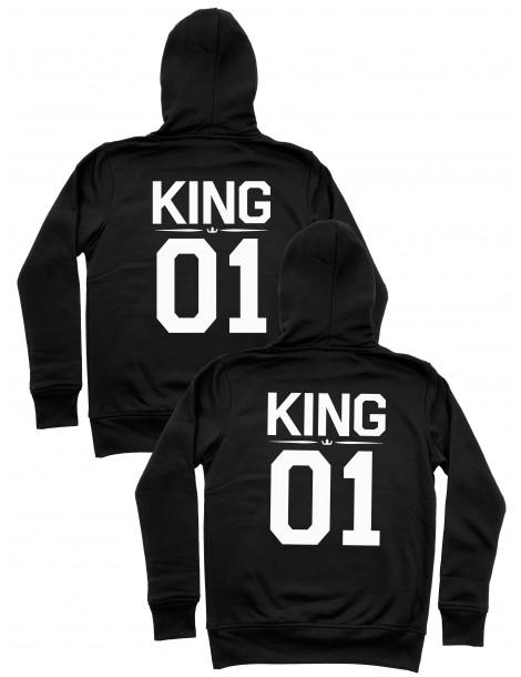 King 01 King 01 bluzy dla par homoseksualnych z kapturem czarne