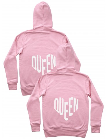 Queen Queen serca bluzy dla par homoseksualnych z kapturem różowe