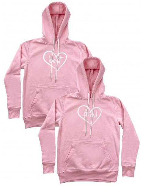 Best Friend serca bluzy dla przyjaciółek z kapturem różowe