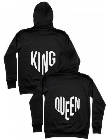 Bluzy dla par odblaskowe King Queen serce czarne
