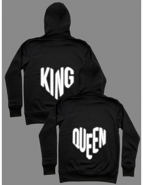 Bluzy dla par odblaskowe King Queen serca czarne