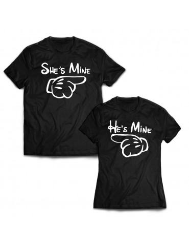 Koszulki dla par 2szt. zestaw She's Mine i He's Mine
