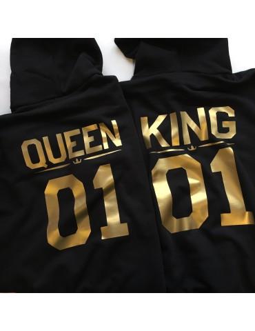 Bluzy dla par King Queen złote nadruki