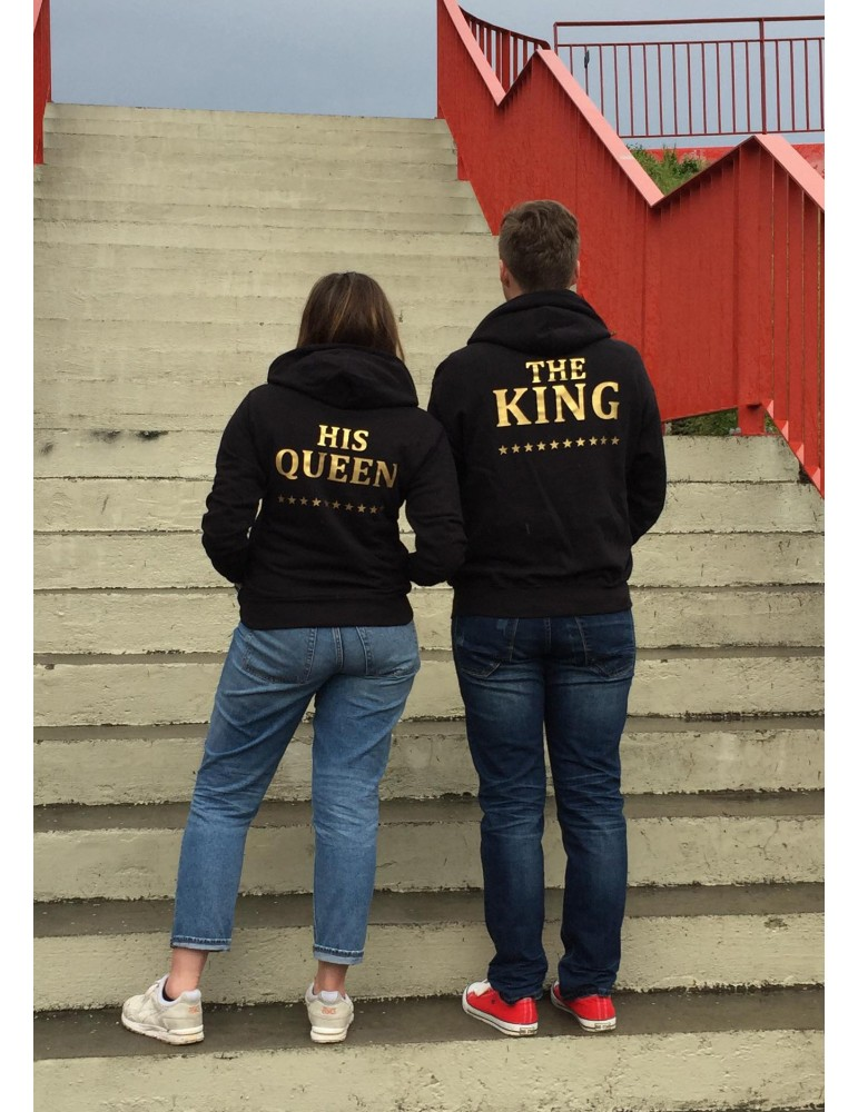 Prezent dla dziewczyny, bluzy King Queen ze złotymi nadrukami