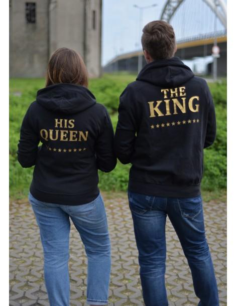 Bluzy dla par ze złotym nadrukiem The King His Queen