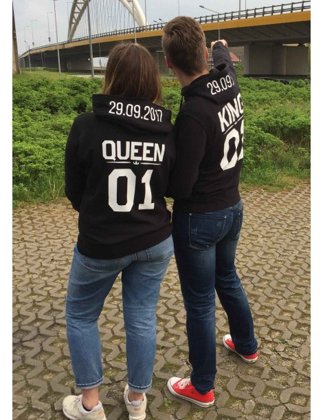 Bluzy dla par King Queen ze swoją datą na kapturze