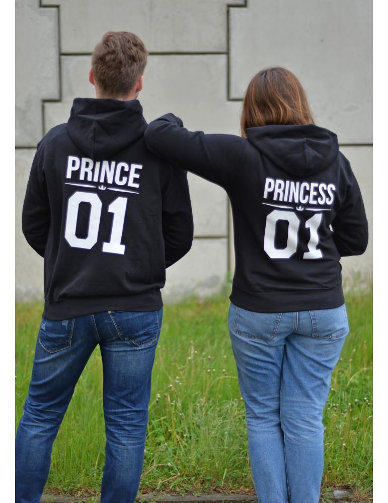 Prince 01 Princess 01 bluzy dla par z kapturem