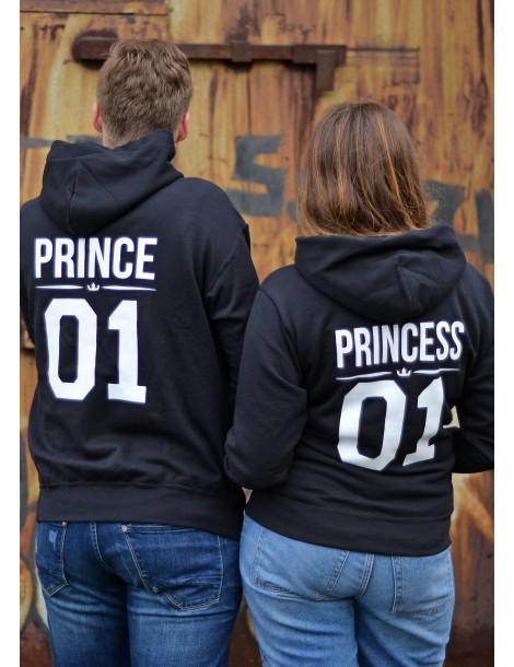 Bluzy dla par Princess Prince z kapturem