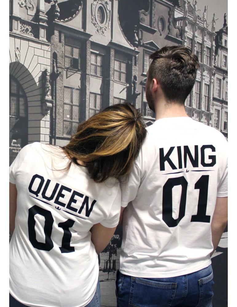 Koszulki dla par Queen 01 King 01 białe