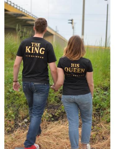 Koszulki dla par The King i His Queen czarne