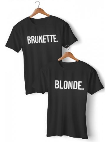 BLONDE BRUNETTE dwie koszulki dla przyjaciółek czarne