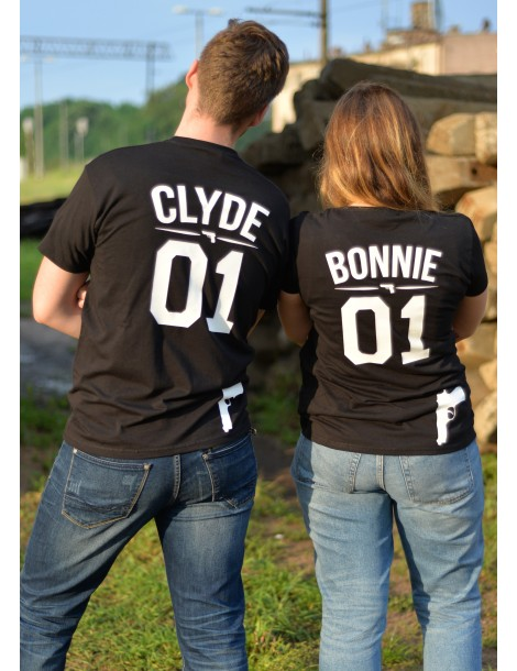 Zestaw koszulek Clyde bonnie dla par - Akomu.pl